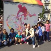 Fresque réalisée sur La Machine à Créer à l'occasion de la journée organisée par Pro Vélo à la place Morichard